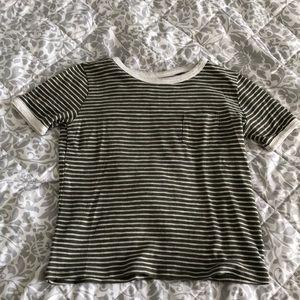 Green striped short sleeve t-shirt